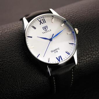 Đồng hồ nam dây da cao cấp Yazole 9513 (Dây đen mặt trắng)
