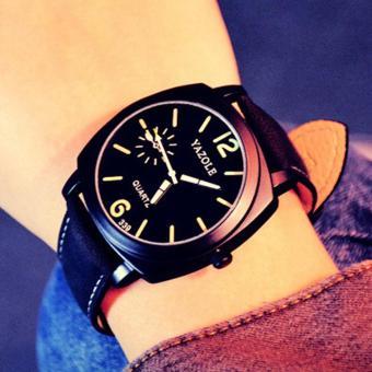 Đồng hồ nam dây da cao cấp Yazole 9521 (Dây đen mặt đen)