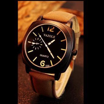 Đồng hồ nam dây da cao cấp Yazole 9522 (Dây nâu mặt đen)
