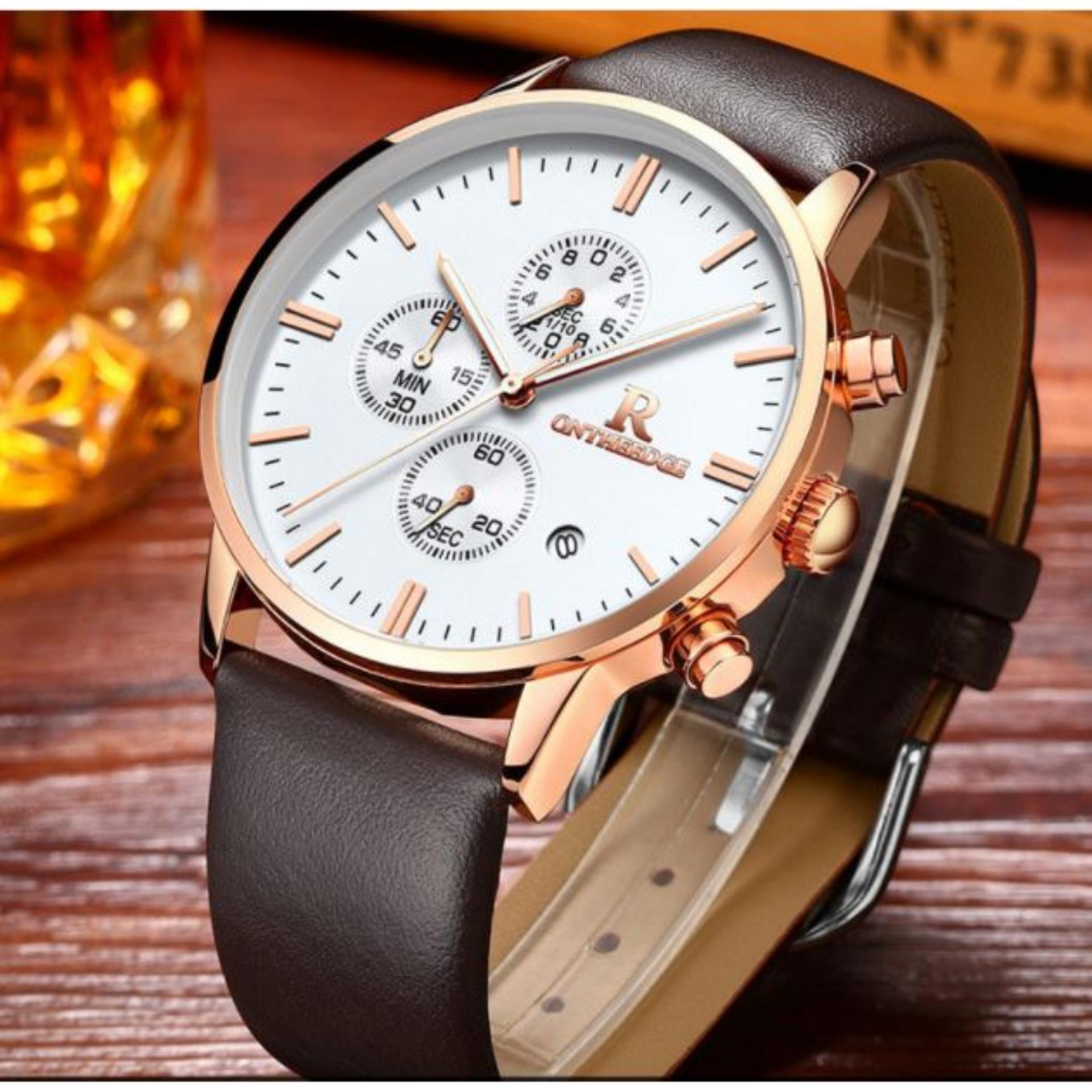 (Cập nhật 2019)Đồng hồ nam Ontheedge 1004 dây da chạy full 6 kim Chronograph
