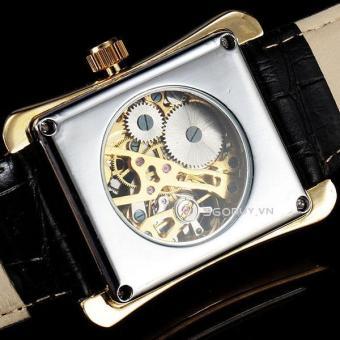 Đồng hồ nam dây da cơ lộ máy mặt vuông SEWOR SE028