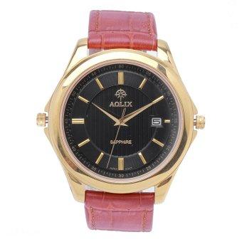 Đồng hồ nam dây da kính Sapphire Aolix 9111G (Vàng)