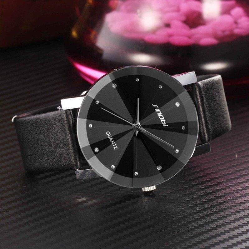 Nơi bán Đồng hồ nam dây da mặt kính 3D chống xước SINOBI SI6D (Đen)