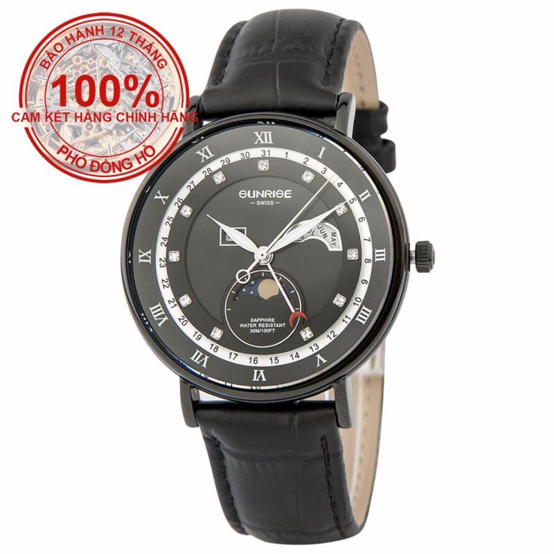 Nơi bán Đồng hồ nam dây da mặt kính sapphire chống xước Sunrise DM1117MS-GL