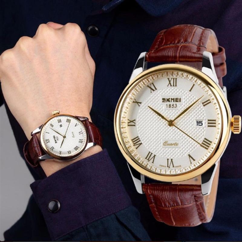 Nơi bán Đồng hồ nam dây da Skmei 9058 mặt màu trắng