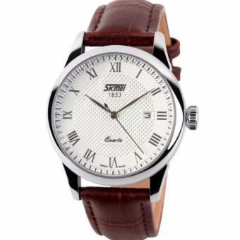 Đồng hồ nam dây da Skmei 9058 - Nâu Mặt trắng viền trắng