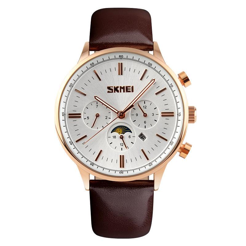 Đồng hồ nam dây da Skmei 9117CL (Mặt trắng dây nâu viền vàng)