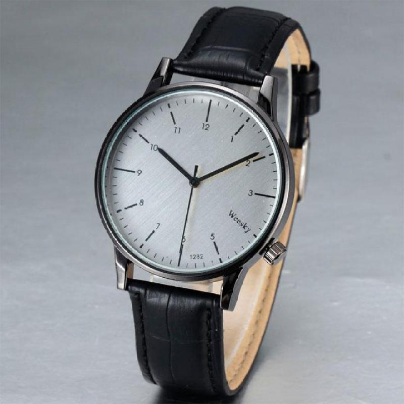 Nơi bán Đồng hồ nam dây da thời trang Weesky IDW 6502 (Dây đen mặt trắng)