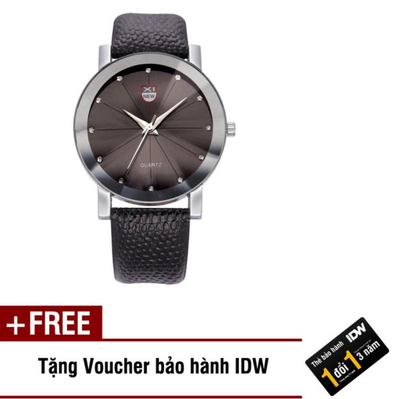 Nơi bán Đồng hồ nam dây da thời trang Xinew IDW 9161 (Mặt đen) + Tặng kèm voucher bảo hành IDW