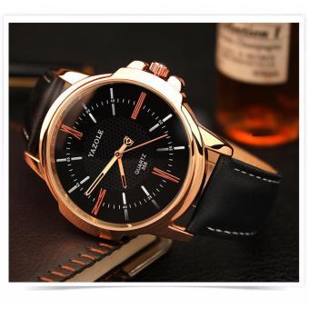 Đồng hồ nam dây da Yazole 358 đẳng cấp doanh nhân (mặt đen, dây đen)