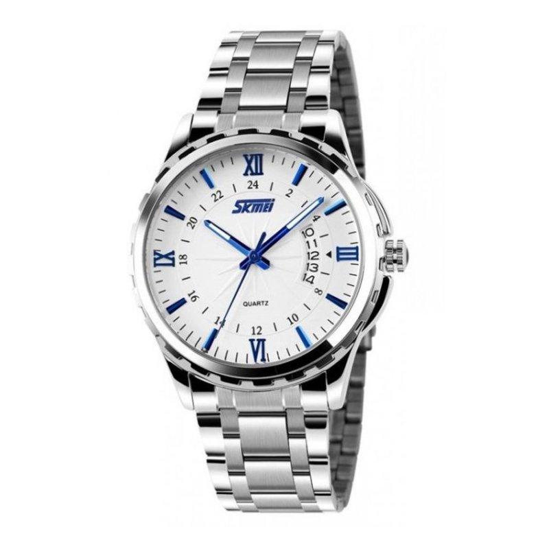 Nơi bán Đồng hồ nam dây hợp kim chống gỉ Skmei 9069 (Trắng kim xanh)