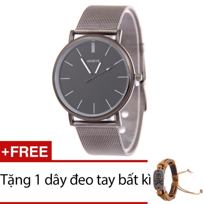 Nơi bán Đồng hồ nam dây hợp kim Geneve G003-3 (Đen xám) + Tặng 1 dây đeo tay bất kì