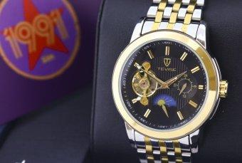 Đồng hồ Nam dây thép chống gỉ TEVISE 999 (Đen) +Tặng kèm vòng tay thạch anh đen