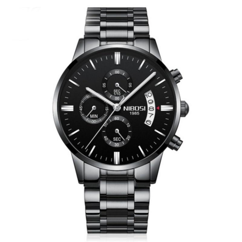 Nơi bán Đồng hồ nam dây thép không gỉ 6 kim cao cấp Nibosi (black-white)