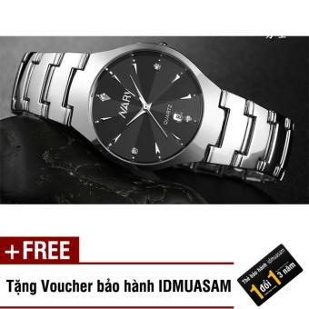 Giá Sốc Đồng hồ nam dây thép không gỉ Nary 002A (Đen) + Tặng kèm voucher bảo hành IDMUASAM
