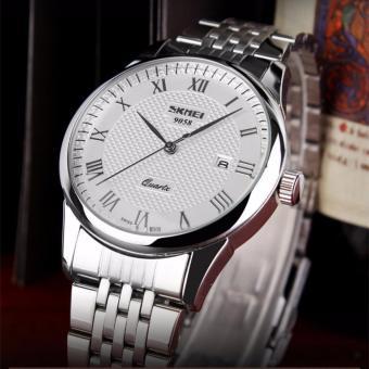 Đồng hồ nam dây thép không gỉ SKMEI 9058 (Trắng)