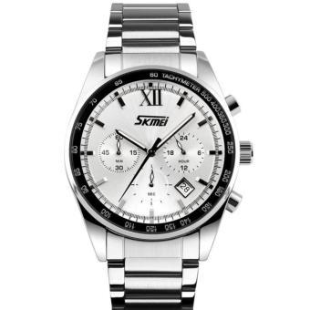 Đồng hồ nam dây thép không gỉ SKMEI 9096 (Bạc mặt tím)