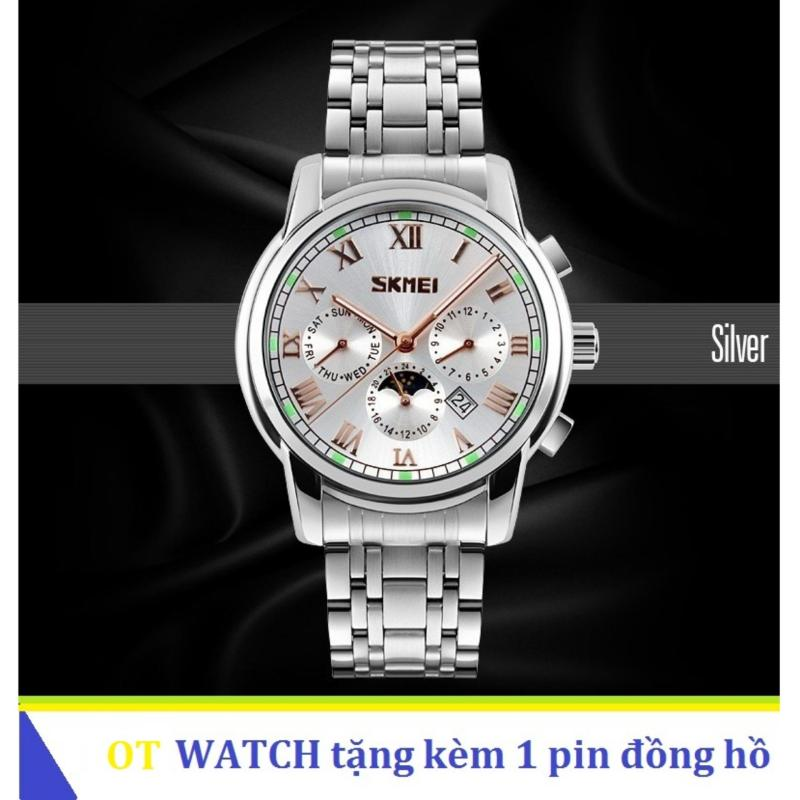 Nơi bán Đồng hồ nam dây thép không gỉ Skmei 9121 6 kim quay (Trắng)