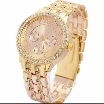 Ở đâu bán Đồng hồ nam dây thép nạm kim cương Geneva New Arrival 2016 (Vàng)