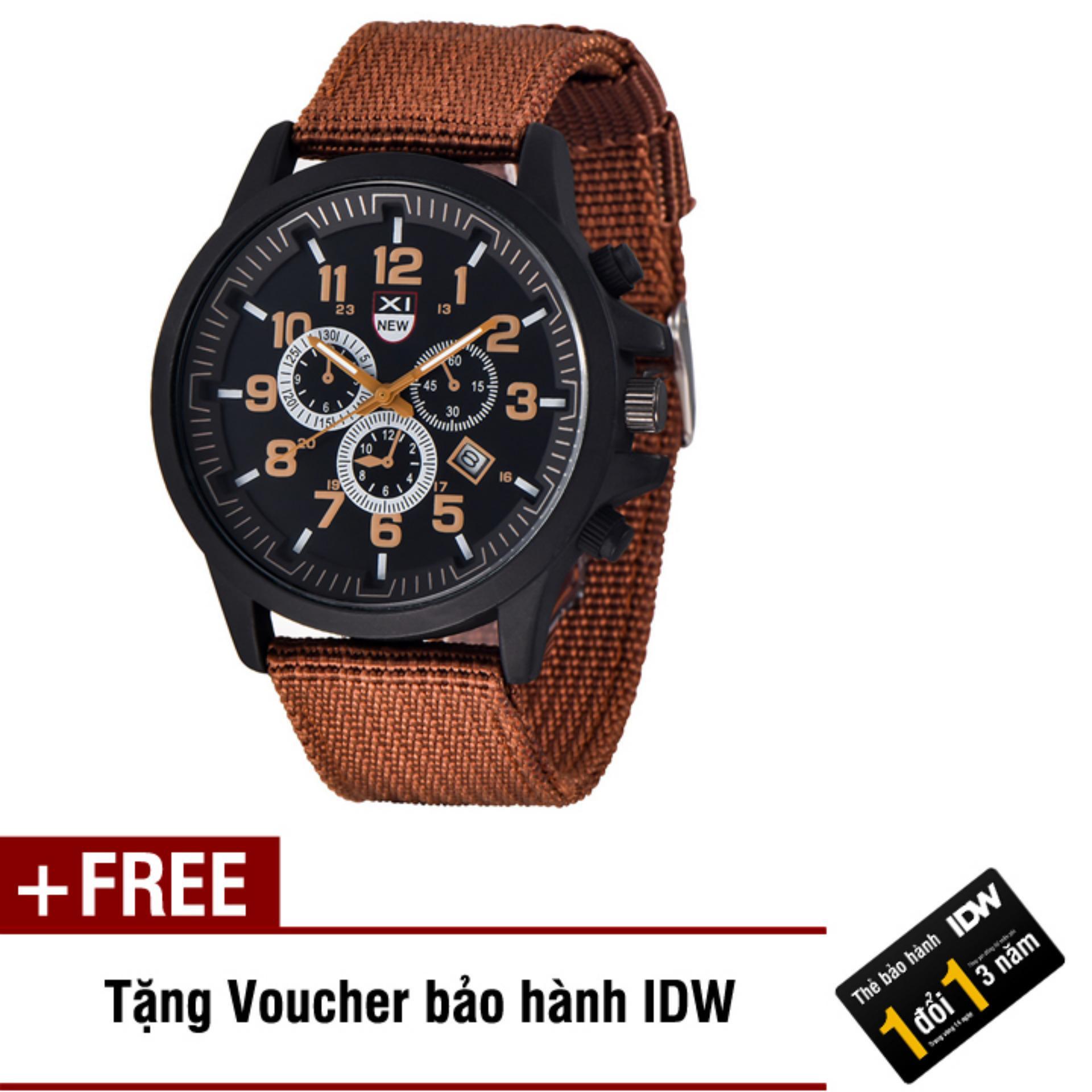 Đồng hồ nam dây vải cao cấp Xinew IDW 5605 (Dây nâu mặt nâu) + Tặng kèm voucher bảo hành IDW