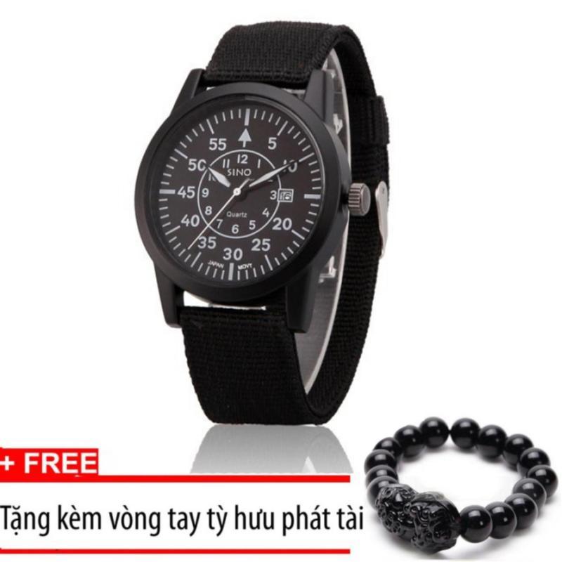 Nơi bán Đồng hồ nam dây vải quân đội SINO JAPAN MOVT (Đen - Mặt đen)