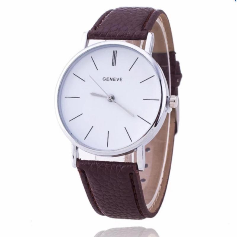 Nơi bán Đồng hồ nam - nữ dây giả da Geneva PU028_BR9594 (Nâu)