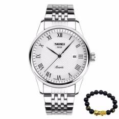 Đồng hồ nam SKMEI 9058 dây thép không gỉ  + Tặng kèm vòng tay tỳ hưu