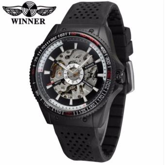 Giá KM Đồng hồ nam WINNER 8029 lộ cơ tự động dây silicone (Đen)