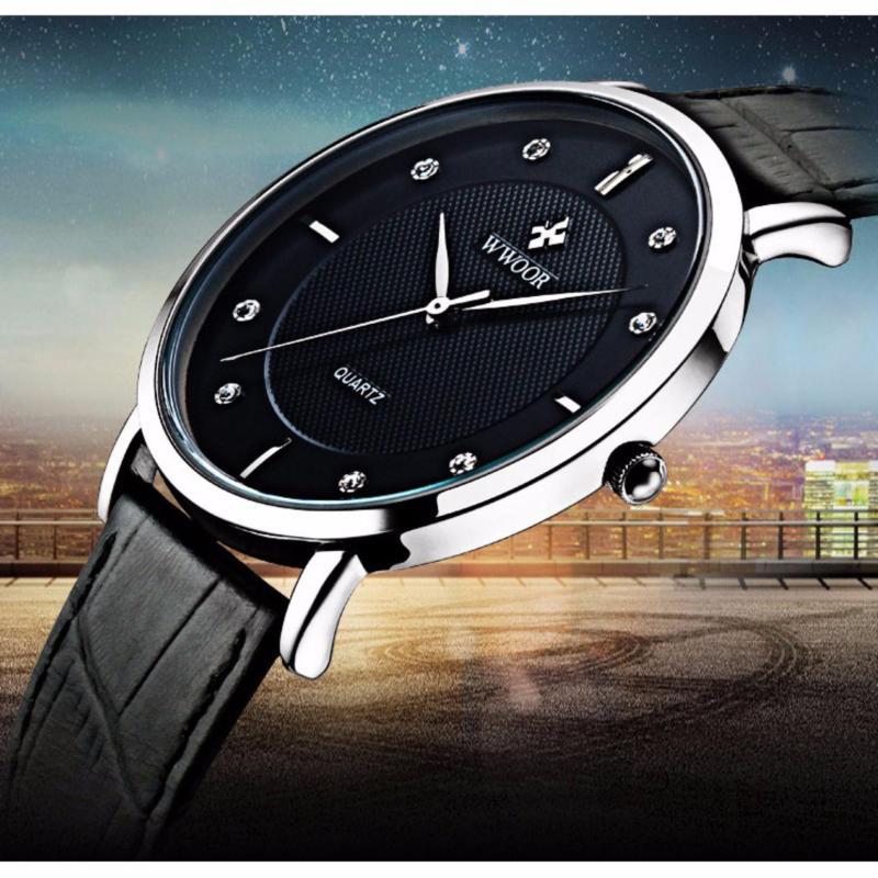 Nơi bán Đồng hồ nam WWOOR 8011 dây da máy mỏng (M Đen)