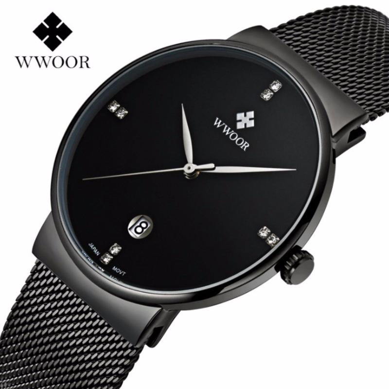Nơi bán Đồng hồ nam WWOOR 8018 Full box máy mỏng dây thép không gỉ (Đen)