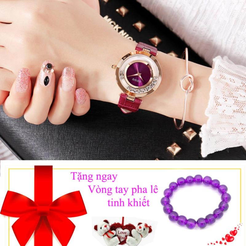 Nơi bán Đồng hồ nữ  dây da đá chạy GUOU 8020  - tặng vòng tay pha lê
