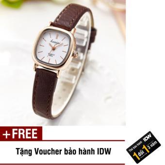 Đồng hồ nữ dây da thời trang Kasiqi IDW 6735 (Dây nâu vỏ vàng mặt trắng) + Tặng kèm voucher bảo hành IDW