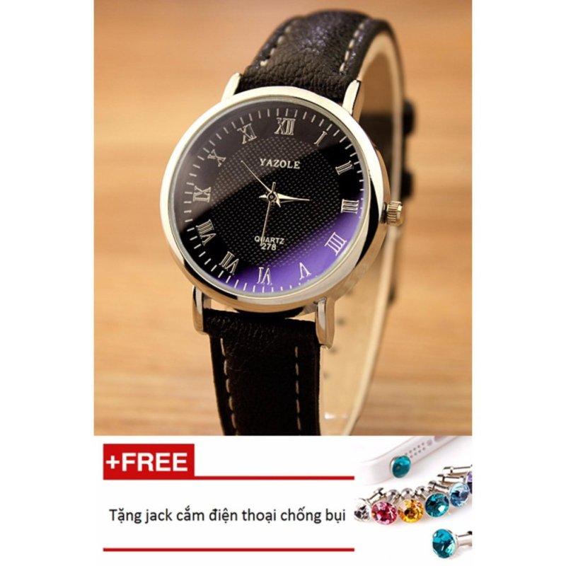 Nơi bán Đồng hồ nữ dây da tổng hợp Yazole PKHRYA004-2 (nâu mặt trắng) + Tặng 1 jack chống bụi cho điện thoại