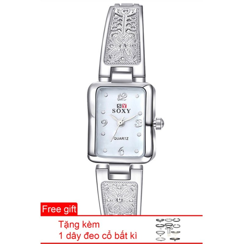 Nơi bán Đồng hồ nữ dây hợp kim Soxy SY001-3 (Bạc mặt đen) + Tặng 1 dây đeo cổ bất kì