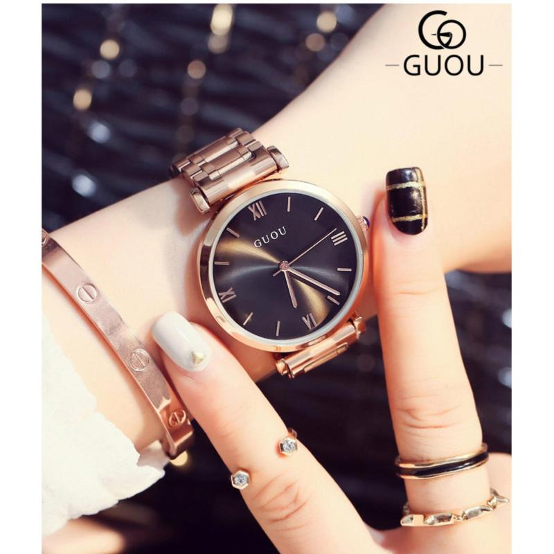 Nơi bán Đồng hồ nữ dây thép không gỉ cao cấp GUOU 8149 (đen)