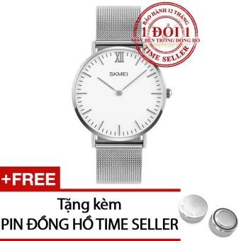 Đồng hồ nữ dây thép lưới viền mỏng 6mm SKMEI 1182 + Tặng 01 Pin Time Seller