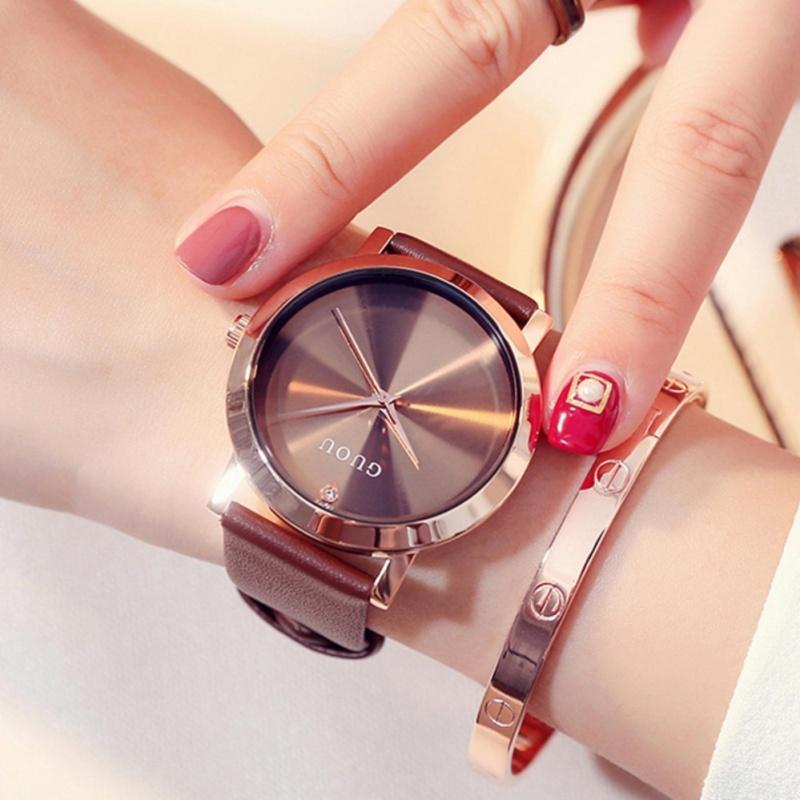 Nơi bán Đồng hồ nữ GUOU mặt trơn 3 kim dây da cao cấp TP-8072