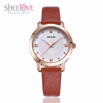 Đồng hồ nữ kezzi dây da mềm mặt tròn thời trang sang trọng WH-K1208(Nâu) - 3