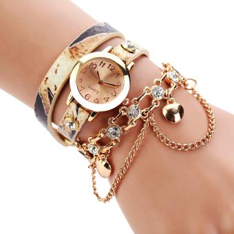 Đồng hồ nữ kiểu vòng tay màu trắng quai da hình con rắn thương hiệuQuartz