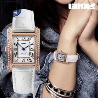 Đồng hồ nữ mặt vuông dây da SKMEI 1281 cao cấp dây trắng