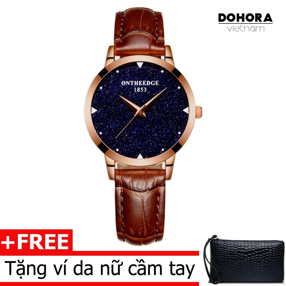 Đồng hồ thời trang nữ Ontheedge DO6 dây da cao cấp cấp chống nước + Tặng kèm ví da cầm tay nữ(Có bảo hành)