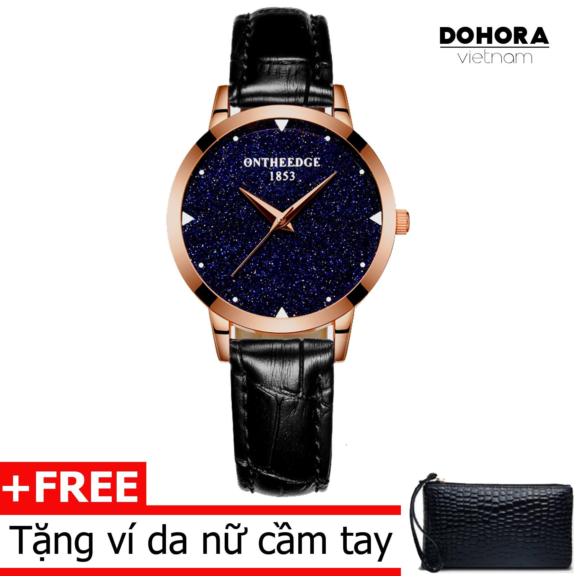 (Cập nhật 2019)Đồng hồ thời trang nữ Ontheedge DO6 dây da cao cấp cấp chống nước + Tặng kèm ví da cầm tay nữ