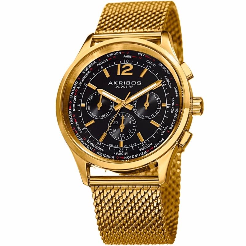 Nơi bán Đồng hồ thời trang Thụy Sĩ cao cấp Akribos XXIV dây kim loại ( Vàng ) - Mặt 42mm