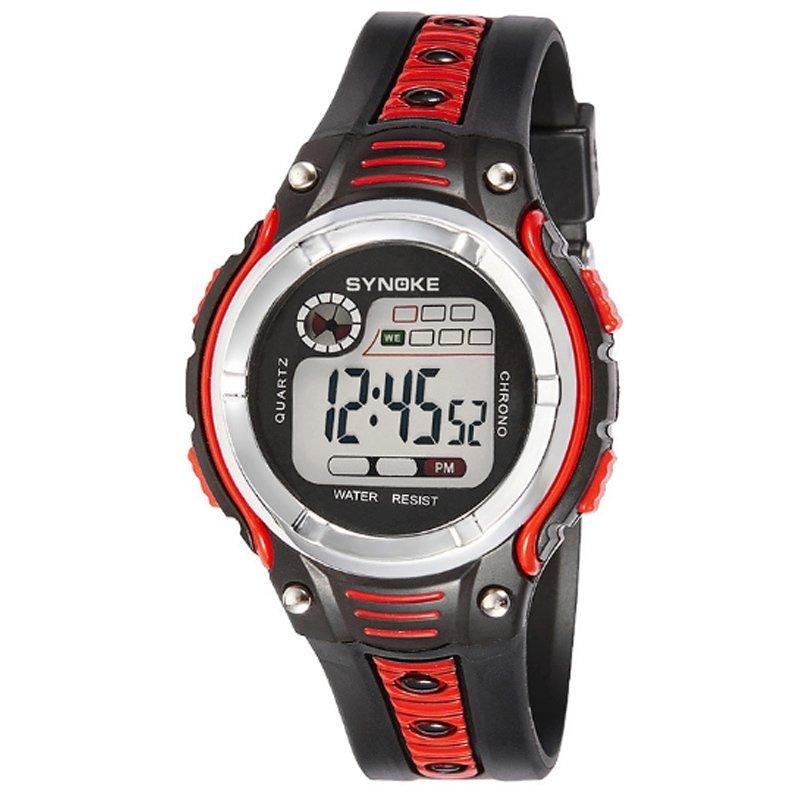 Nơi bán Đồng hồ trẻ em dây nhựa Synoke 99599 (Đen viền đỏ)