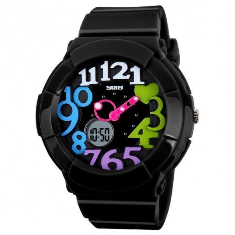Đồng hồ trẻ em mặt số dây nhựa SKMEI 1020 (Đen) bán chạy