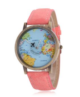 Đồng hồ unisex quả địa cầu (Hồng)