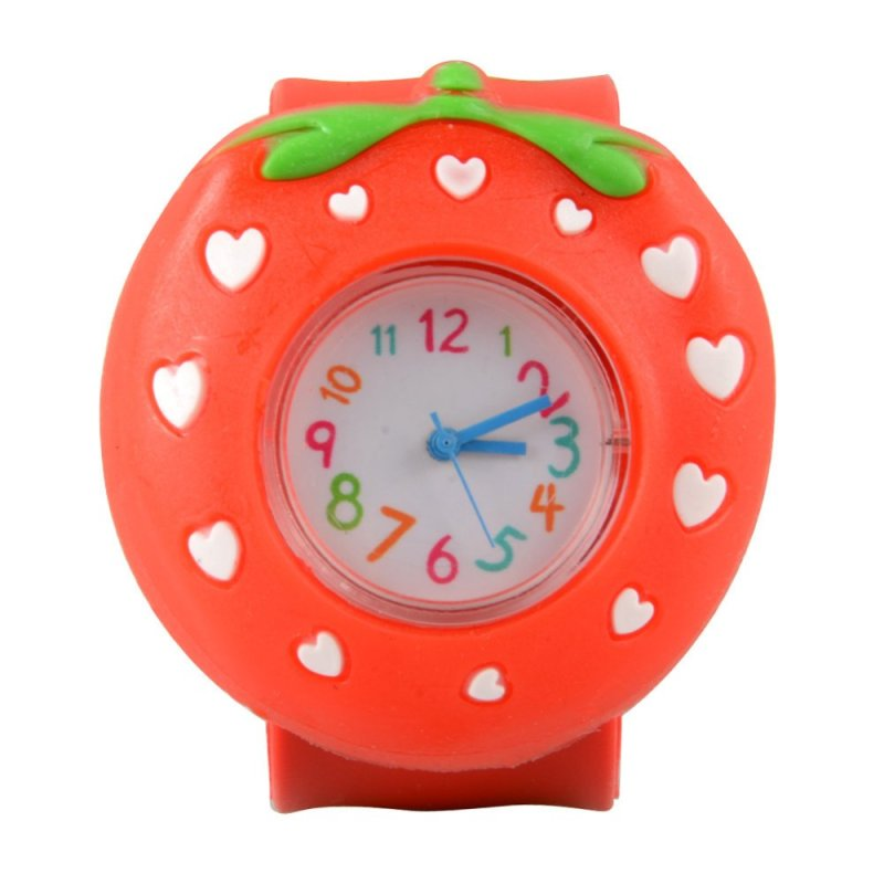 Easybuy Strawberry Cartoon Kid Quartz Sport Bendable Rubber Strap Wrist Watch - intl bán chạy