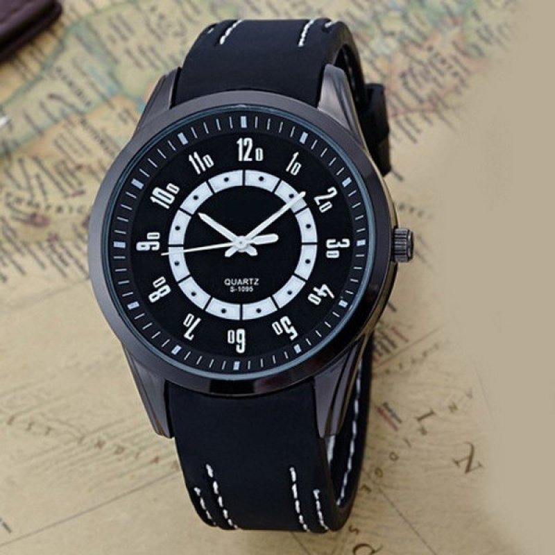 Easybuy Students High-Grade Silicone Slim Watches Men Women Wristwatch Gift Watch Black - intl bán chạy