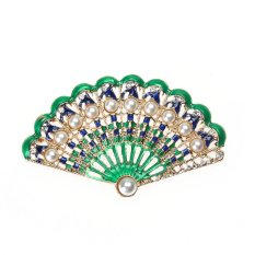 Địa Chỉ Bán Fan-shaped Rhinestones Brooch Retro Pin Garment Accessory – intl   crystalawaking