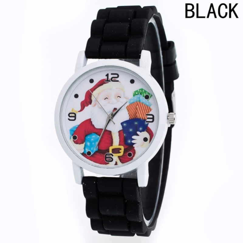 Fancyqube 10 Colors Kids Watch Kids Santa Clause Watch Christmas Best Gift Silicone Watch New Fashion Watch Children Girl Black - intl bán chạy